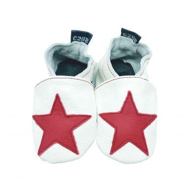 Soft leather baby shoes boys | Orange dino