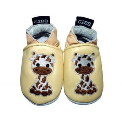 Krabbelschuhe Babyschuhe geschmeidiges Leder - Junge | Giraffe