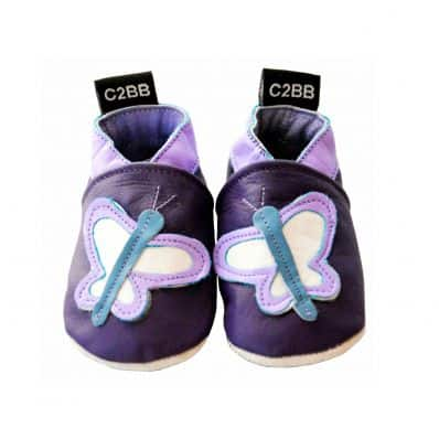 Soft leather baby shoes girls | Purple butterfly