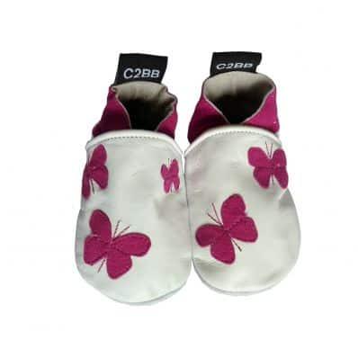 Zapitillas de bebe de cuero suave niñas antideslizante | Pequeñas mariposas morada