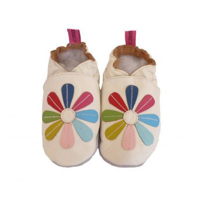 Soft leather baby shoes girls | White multicolore marguerite