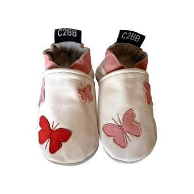 Chaussons cuir souple PAPILLONS