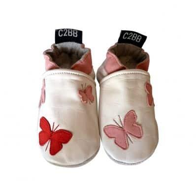 Chaussons en cuir souple PAPILLONS C2BB - chaussons, chaussures, chaussettes pour bébé