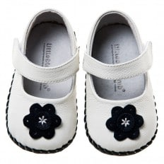 Little Blue Lamb - Baby girls first steps soft leather shoes | White babies black flower