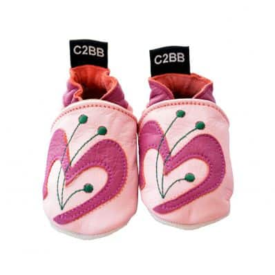 Soft leather baby shoes girls | pink butterfly