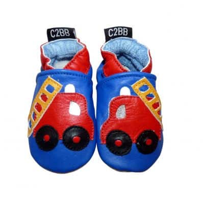 Soft leather baby shoes boys | Fire truck