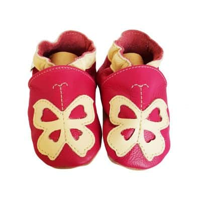 Soft leather baby shoes girls | Beige butterfly