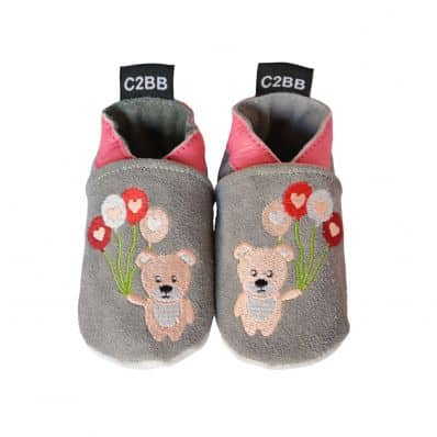 Soft leather velvet effect baby shoes girls | Small bear and its balloons