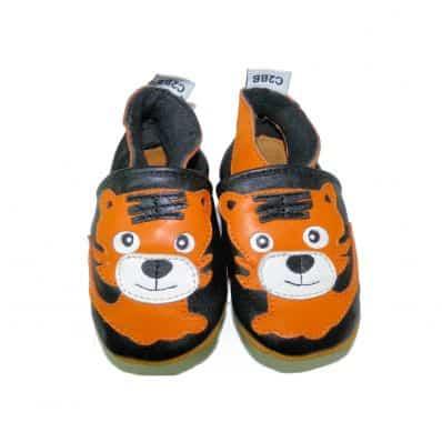 Krabbelschuhe Babyschuhe geschmeidiges Leder - Junge   Orangefarbiger Tiger