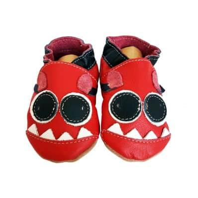 Krabbelschuhe Babyschuhe geschmeidiges Leder - Junge   Rotes Monster