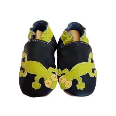 Soft leather baby shoes boys | Green Lizard