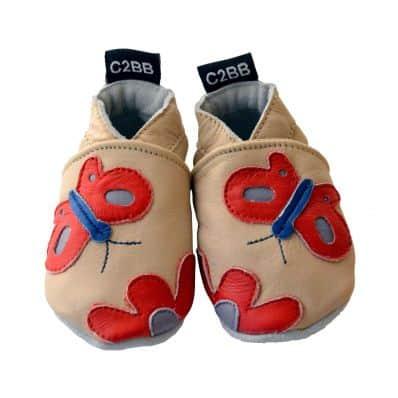Krabbelschuhe Babyschuhe geschmeidiges Leder - Mädchen | Rot Schmetterling