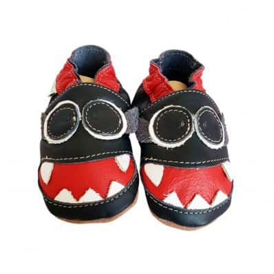 Soft leather baby shoes boys | Black monster
