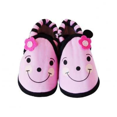 Zapatillas tejido para niños | Flor rosa