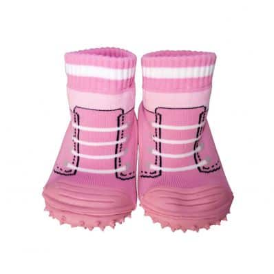 Baby girls Socks shoes with grippy rubber   Pink sneakers
