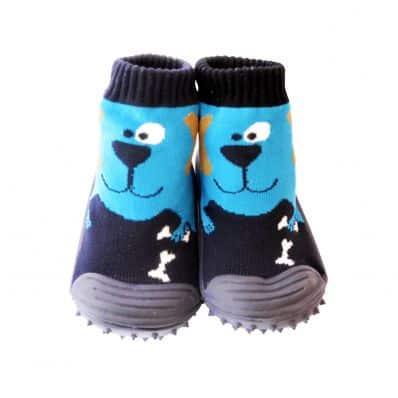 Calcetines con suela antideslizante para niños | Perro azul