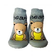 Baby boys Socks shoes with grippy rubber | Teddy bear