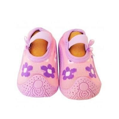 Calcetines con suela antideslizante para niñas | Flores de color rosa púrpura