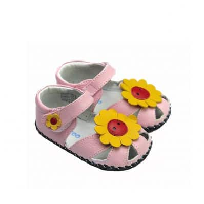 FREYCOO - Baby girls first steps soft leather shoes | Pink sandals sunflower
