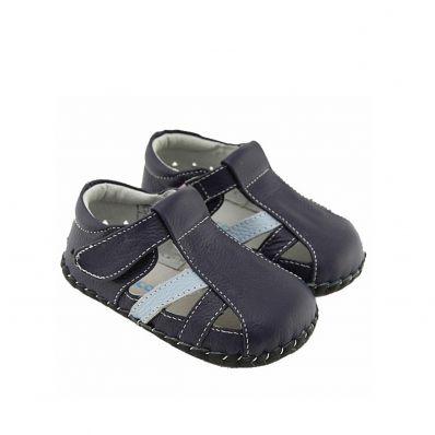 FREYCOO - Scarpine primi passi bimba in morbida pelle   Sandali blu scuro