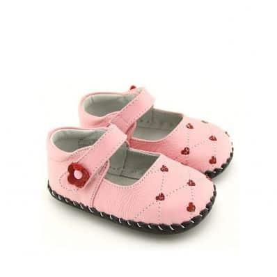 FREYCOO - Krabbelschuhe Babyschuhe Leder - Mädchen | Rosa babies mit herzen