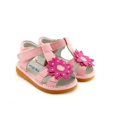 FREYCOO - Scarpine bimba primi passi con fischietto | Sandali rosa con grosso fiore rosa