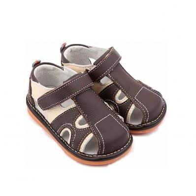 FREYCOO - Krabbelschuhe Babyschuhe squeaky Leder - Jungen | Marone und beige sandalen