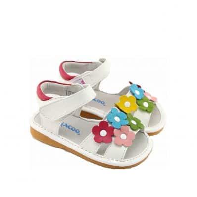 FREYCOO - Zapatos de cuero chirriantes - squeaky shoes niñas | Sandalias flores blancas de colores