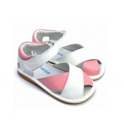 FREYCOO - Squeaky Leather Toddler Girls Shoes | White and pink sandals