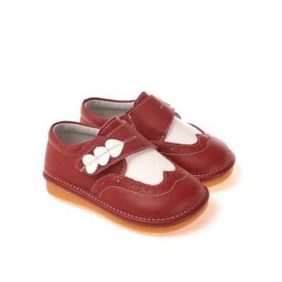 CAROCH - Squeaky Leather Toddler Girls Shoes | Red babies with 3 hearts