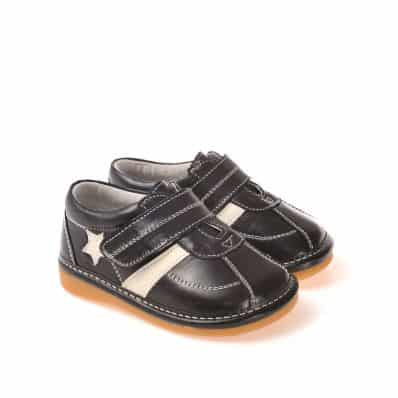CAROCH - Squeaky Leather Toddler boys Shoes | White star black sneakers