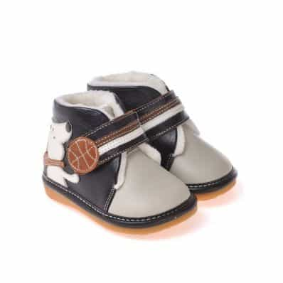 CAROCH - Squeaky Leather Toddler boys Shoes | Grey filled bootees