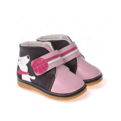 CAROCH - Squeaky Leather Toddler Girls Shoes | Black and pink filled bootees