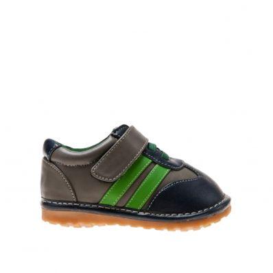 Little Blue Lamb - Krabbelschuhe Babyschuhe squeaky Leder - Jungen | Sneakers grau streifen grün