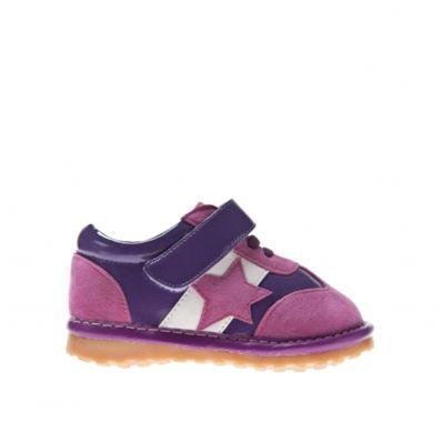 Little Blue Lamb - Zapatos de cuero chirriantes - squeaky shoes niñas | Zapatillas de deporte estrella rosa y morada