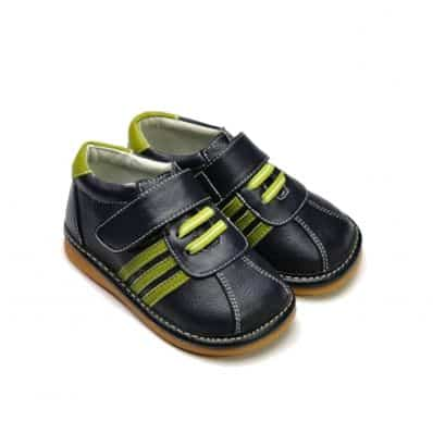 FREYCOO - Squeaky Leather Toddler boys Shoes | Black sneakers green laces