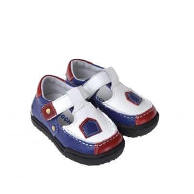CAROCH - Krabbelschuhe Babyschuhe Leder - Jungen | Weiß blau rot sneakers