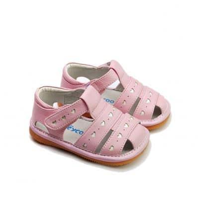 FREYCOO - Scarpine bimba primi passi con fischietto | Sandali rosa con piccoli cuori