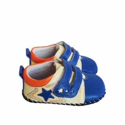 FREYCOO - Krabbelschuhe Babyschuhe Leder - Jungen | Blau Turnschuhe mit blau stern