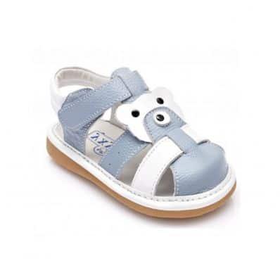 YXY - Krabbelschuhe Babyschuhe squeaky Leder - Jungen   Blau und weiß geschlossen Sandalen