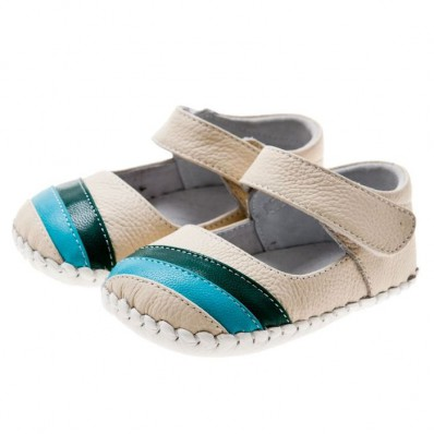 Little Blue Lamb - Zapatos de bebe primeros pasos de cuero niñas   Estilo colegial blancas tira azul