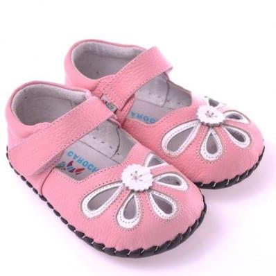 CAROCH - Chaussures premiers pas cuir souple | Sandales roses