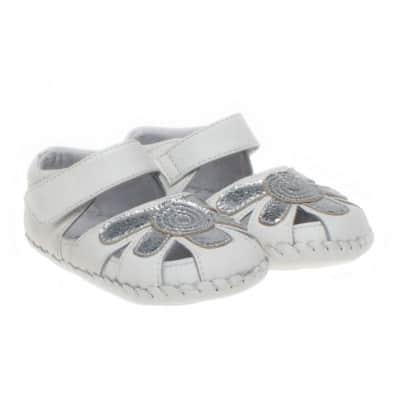 Little Blue Lamb - Krabbelschuhe Babyschuhe Leder - Mädchen   Weiße Sandalen