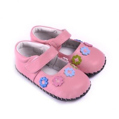 CAROCH - Krabbelschuhe Babyschuhe Leder - Mädchen   Rose Farbblumen babies