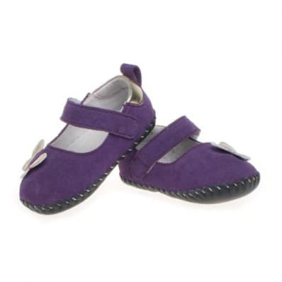 Little Blue Lamb - Baby girls first steps soft leather shoes | Purple butterfly