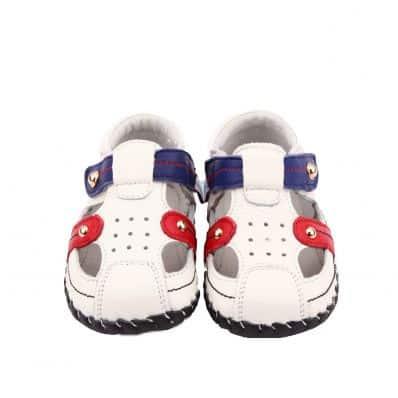 FREYCOO - Krabbelschuhe Babyschuhe Leder - Jungen | Weiß und blau Sandalen