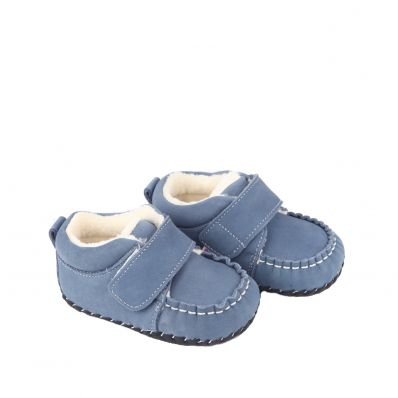 Little Blue Lamb - Baby girls first steps soft leather shoes | Black and silver ceremony