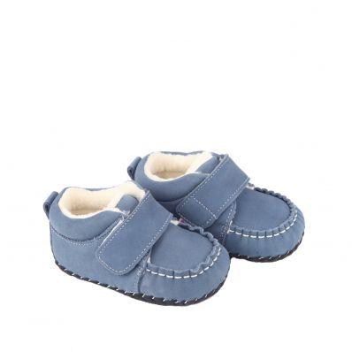 Little Blue Lamb - Scarpine primi passi bimba in morbida pelle | Nero e argento