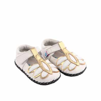 Chaussures premiers pas cuir souple MARA WHITE C2BB - chaussons, chaussures, chaussettes pour bébé