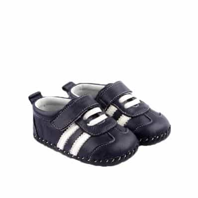Chaussures premiers pas cuir souple baskets BANDES BLANCHES